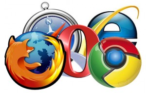 Firefox, Safari, Opera, Internet Explorer, Chrome logos