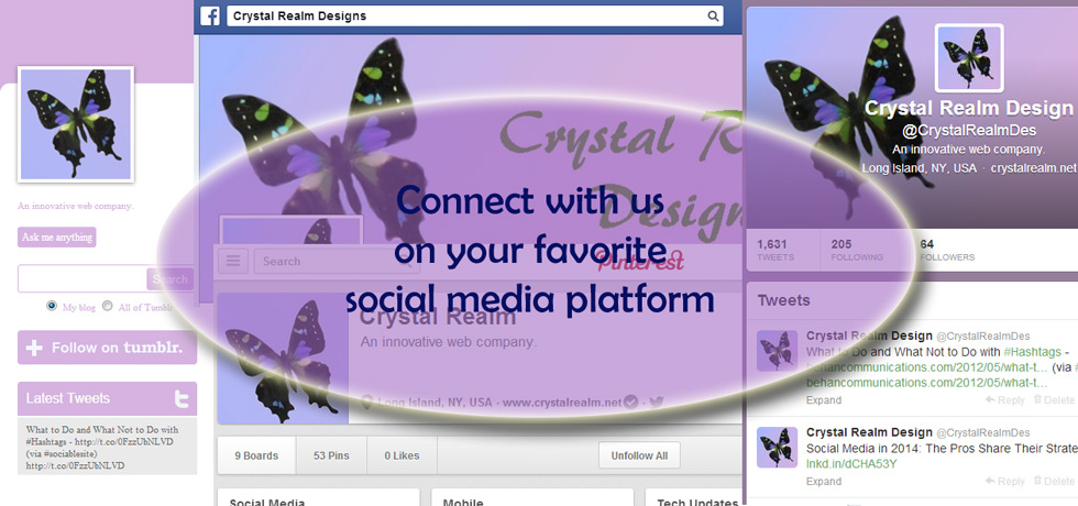 Find Crystal Realm Designs on Social Media